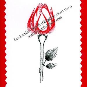 Broderie sur papier carte a broder rose rouge loisirs creatifs d eugenie