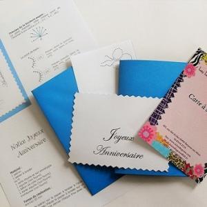 Broderie sur papier loisirs creatifs anniversaire bleu