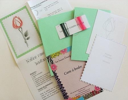 Broderie sur papier loisirs creatifs bouton de rose