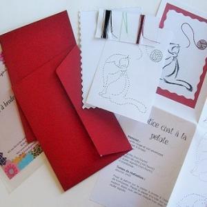 Broderie sur papier loisirs creatifs chat a la pelote