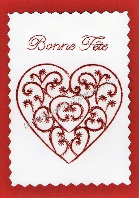 Carte broder broderie sur papier coeur bonne f te - Boutique de loisirs creatifs ...