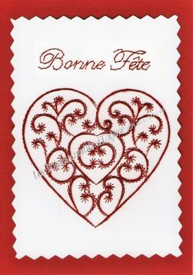 """Kit broderie sur papier carte à broder """"Coeur bonne fête"""""""