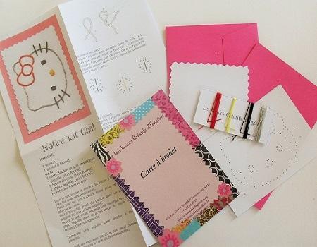 Broderie sur papier loisirs creatifs tete de chat enfant