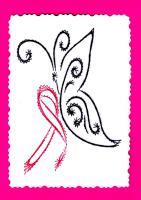 Cancer du sein papillon au ruban rose broderie sur papier