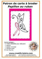 Cancer du sein papillon au ruban rose kit broderie sur papier