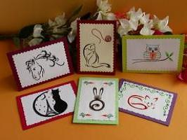 Carte a broder broderie sur papier animaux renard hibou chat cheval lapin loisirs creatifs d eugenie