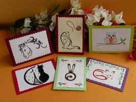 Carte a broder broderie sur papier animaux renard hibou chat cheval lapin loisirs creatifs d eugenie