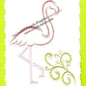 Carte a broder broderie sur papier flamand rose broderie sur papier loisirs creatifs eugenie