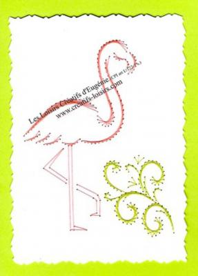 "Kit broderie sur papier carte à broder ""Flamand Rose"""