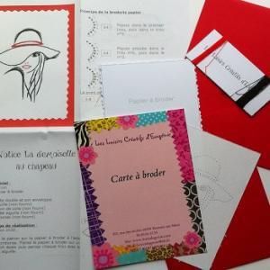 Carte a broder broderie sur papier la fille au chapeau les loisirs creatifs d eugenie