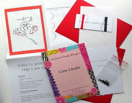 Carte broder broderie sur papier robe rouge pois noirs - Boutique des loisirs creatifs ...