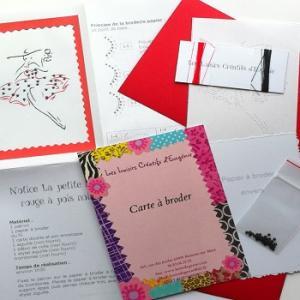 Carte a broder broderie sur papier la petite robe rouge a pois noirs les loisirs creatifs d eugenie