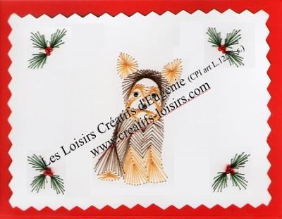 """Kit broderie sur papier carte à broder """"Chien de Noël"""""""
