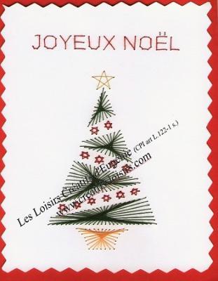 """Kit broderie sur papier carte à broder """"Sapin de Noël"""""""