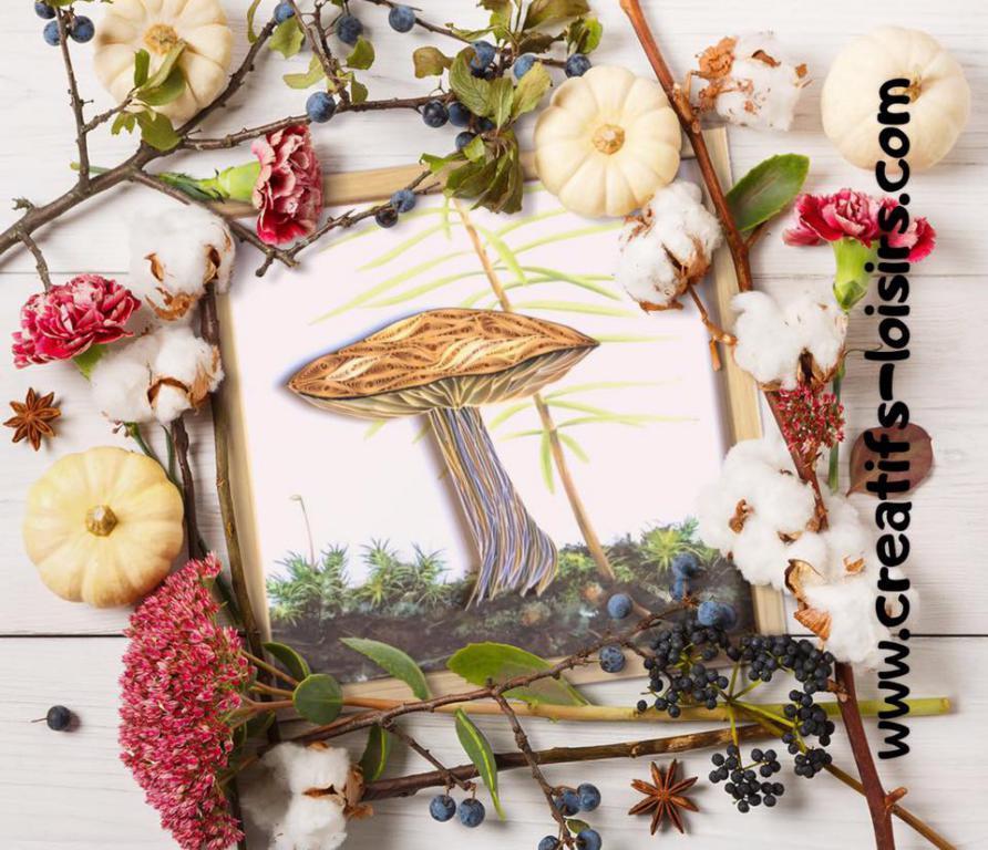 Champignon quilling automne papier roule loisirs creatifs eugenie