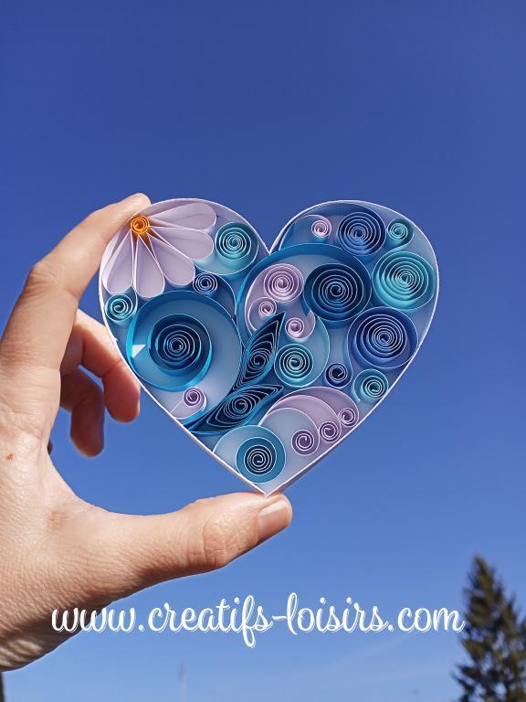 Coeur bleu quilling paperolles bande papier quilling ciel diy rouler 1