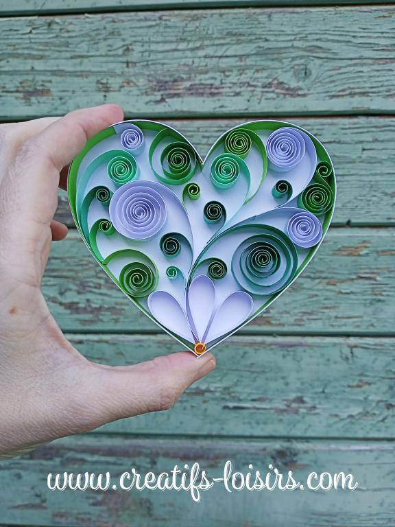 Coeur heart vert quilling paperolles bande papier roule bois peinture diy art 1