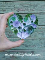 Coeur heart vert quilling paperolles bande papier roule bois peinture diy art