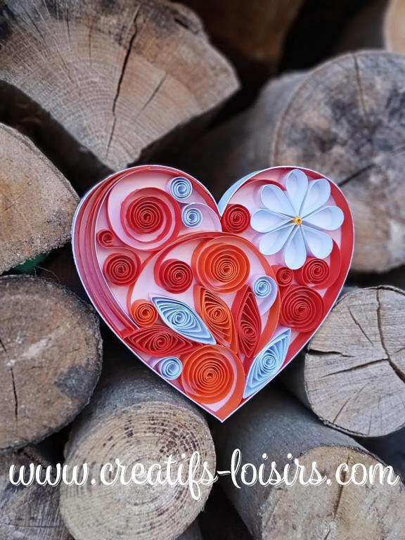 Coeur orange quilling blanc bande papier roule paperolles bois buche diy loisirs creatifs eugenie artisant art 1