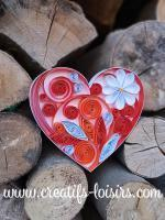 Coeur orange quilling blanc bande papier roule paperolles bois buche diy loisirs creatifs eugenie artisant art
