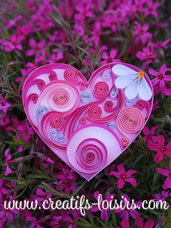 Coeur rose quilling bande papier roule fleur spirale diy paperolles loisirs creatifs eugenie 1