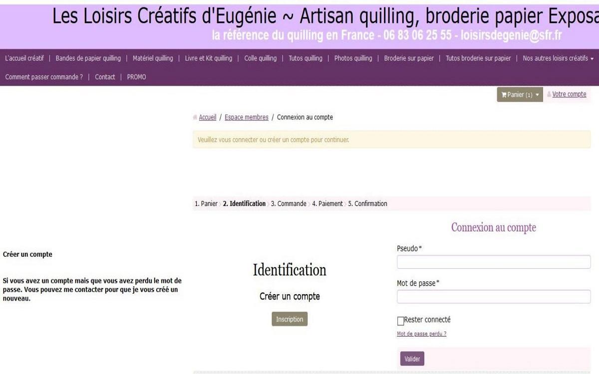 Creer compte ou identification site internet les loisirs creatifs eugenie