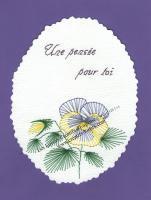 Fleur pensee violet broderie papier carte a broder loisirs creatifs eugenie