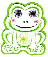 Grenouille batracien verte broderie papier loisir creatif eugenie patron modele animal