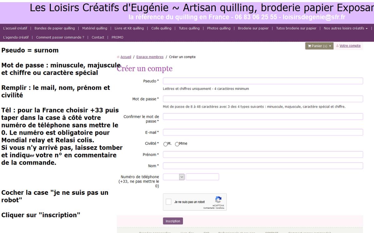 Inscription site internet loisirs creatifs eugenie compte client 1