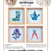 Kit 4 tableau quilling bande papier roule jardin jardinage botte arrosoir secateur fleur iris