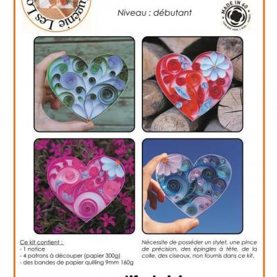 Kit quilling 4 tableaux coeur debutant modele facile rose bleu orange vert diy loisirs creatifs spirale bande papier roule paperolles
