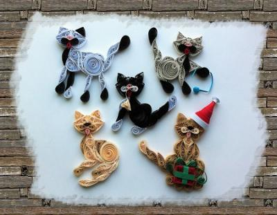 "Kit tutoriel quilling ""Chat 2"", moyen"