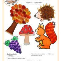 Kit quilling enfant automne herisson ecureuil arbre raisin champignon modele facile debutant