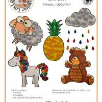 Kit quilling enfant mouton ours licorne nuage ananas modele facile