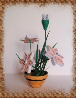 """Kit tuto quilling """"Pot de fleurs"""""""