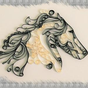 Kit quilling tableau cheval loisir creatif eugenie