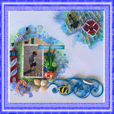 "Kit tutoriel scrap quilling ""Mer 2"", moyen"