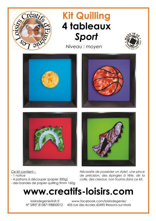 Kit tableau quilling sport balle ballon tennis basket equitation cheval chaussure foot bandes papier roule paperolles diy fait main loisirs creatifs