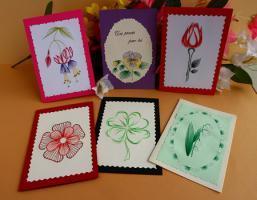 "Livret de 6 patrons carte à broder ""Fleurs"""