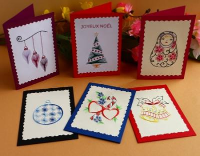 "Livret de 6 patrons carte à broder ""Noël"""