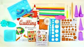 Maxi lot de matereil outil quilling bande papier roule paperolles loisirs creatifs eugenie