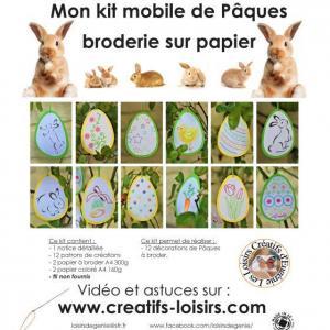 Modele patron kit mobile paques broderie papier oeuf lapin poussin fleur
