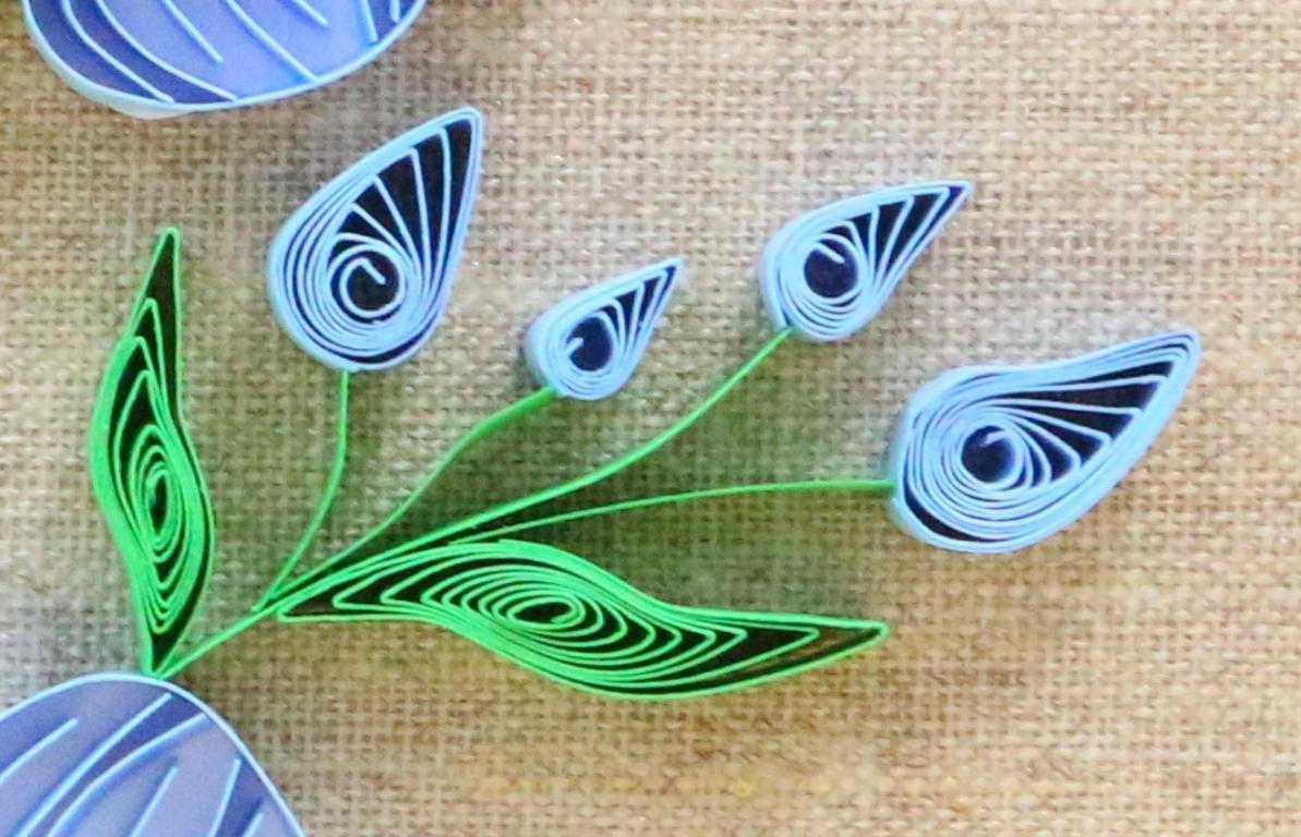Modele quilling detail de feuille et bouton de fleur de lin 02