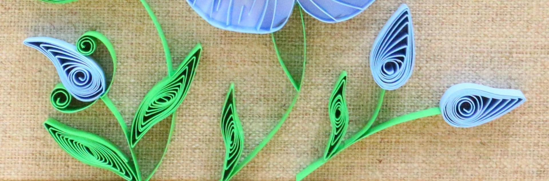Modele quilling detail de feuille et bouton de fleur de lin 03