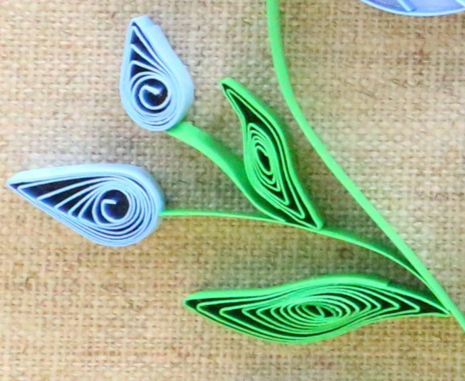 Modele quilling detail de feuille et bouton de fleur de lin 04