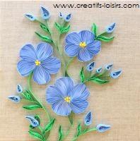 Modele tuto tableau quilling fleurs de lin collees sur toile de lin les loisirs creatifs d eugenie 1