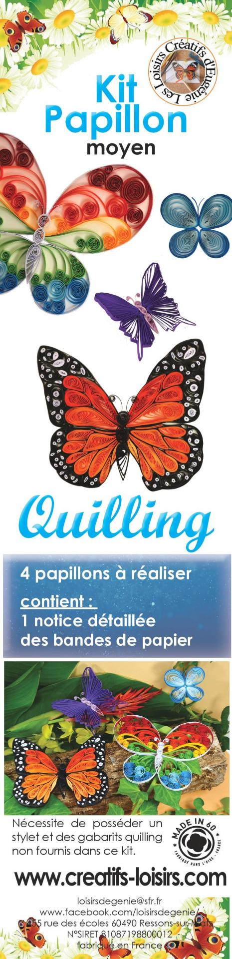 Notice quilling papillon papier loisir creatif paperolle kit modele facile