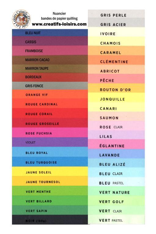 Nuancier 160g 45 couleurs bande papier quilling