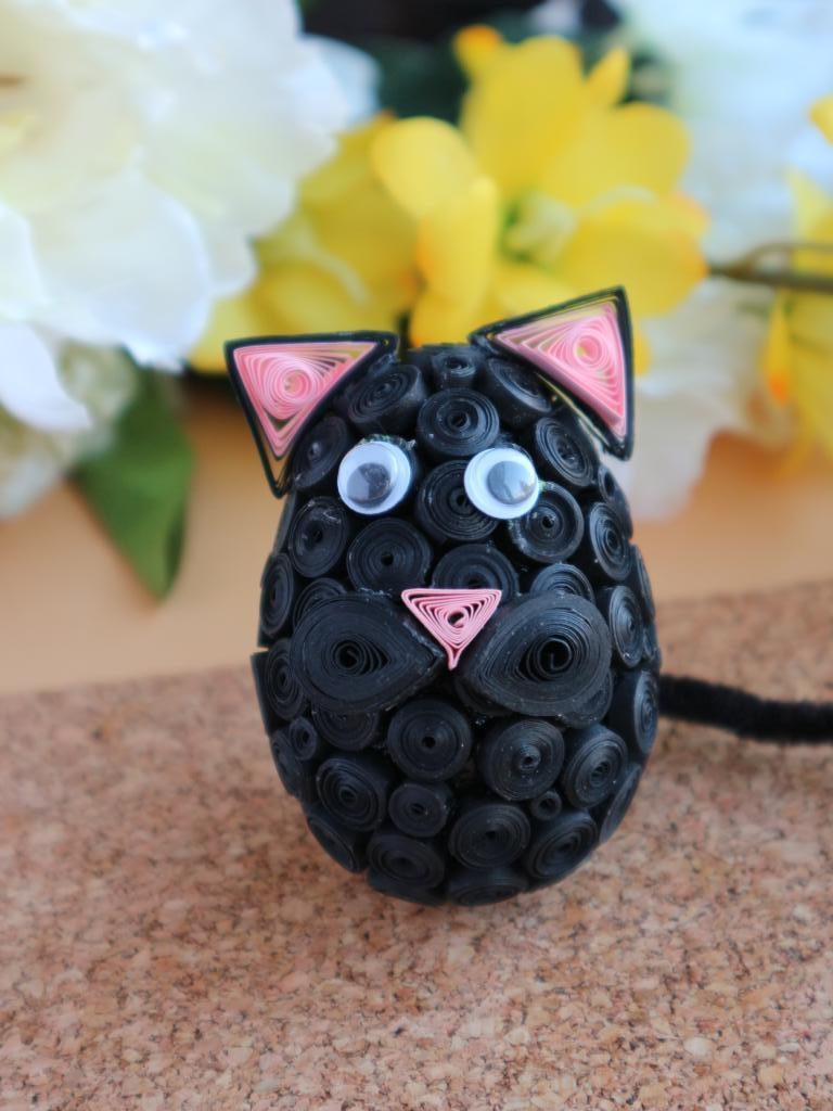 Oeuf quilling chat noir loisir creatif eugenie