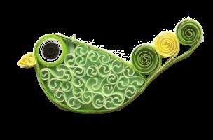 Oiseau vert quilling papier roule paperolle dentelle diy